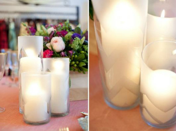 diy wedding chevron candles