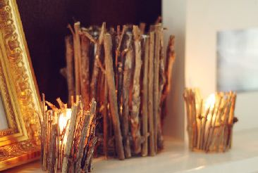 diy wedding twig candle