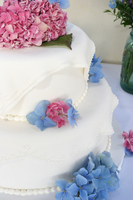 cake with hydrangeas